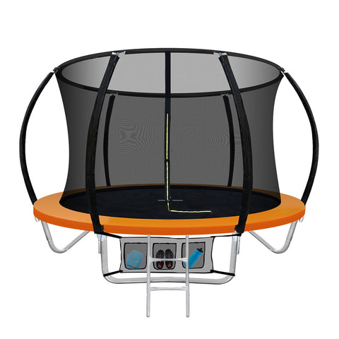 8FT Round Trampoline  Safety Net Pad Kids Outdoor Orange
