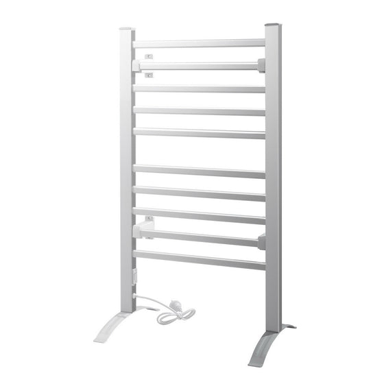 Heated Towel Rail Rack Bathroom Aluminum Electric Rails Warmer Clothes 10 Rungs
