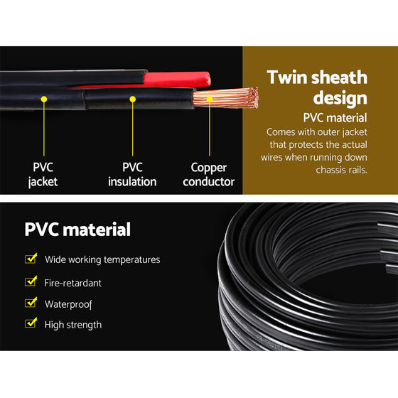 10M 6MM Twin Core Wire 2 Sheath Electrical Cable