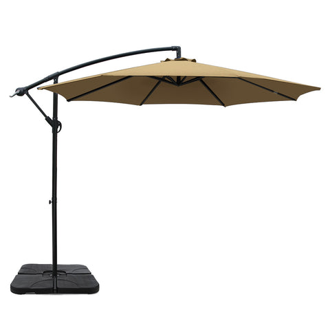 3M Umbrella with 50x50cm Base Outdoor Umbrellas Cantilever Sun Stand UV Garden Beige