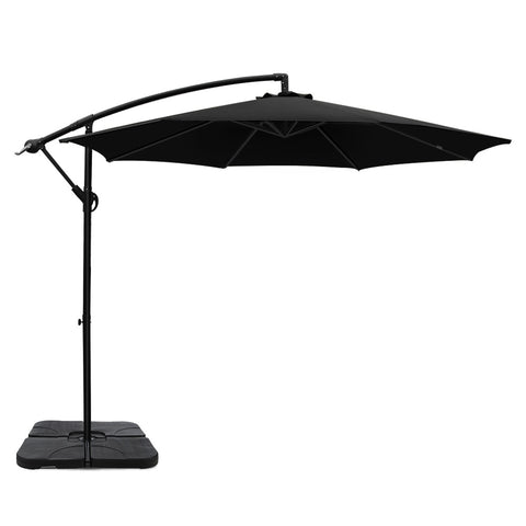3M Umbrella with 50x50cm Base Outdoor Umbrellas Cantilever Sun Stand UV Garden Black