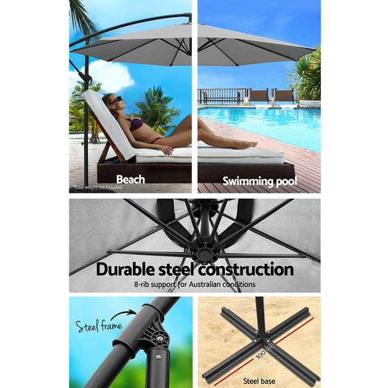 3M Outdoor Furniture Garden Umbrella Grey