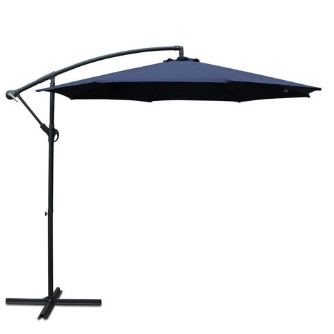Instahut 3M Cantilevered Outdoor Umbrella - Navy
