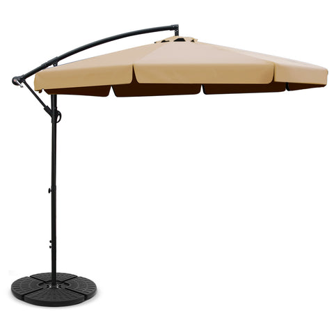3M Umbrella with 48x48cm Base Outdoor Umbrellas Cantilever Sun Beach UV Beige