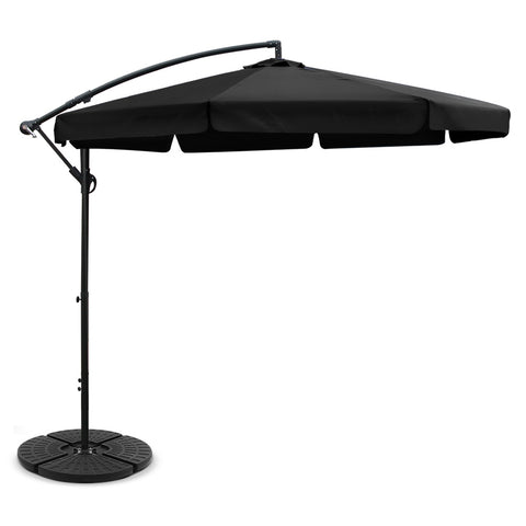 3M Umbrella with 48x48cm Base Outdoor Umbrellas Cantilever Sun Beach UV Black