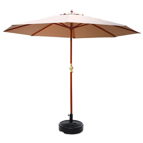 Outdoor Umbrella Pole with Base Garden Stand Deck - Beige