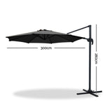 Instahut Roma Outdoor Umbrella - Black