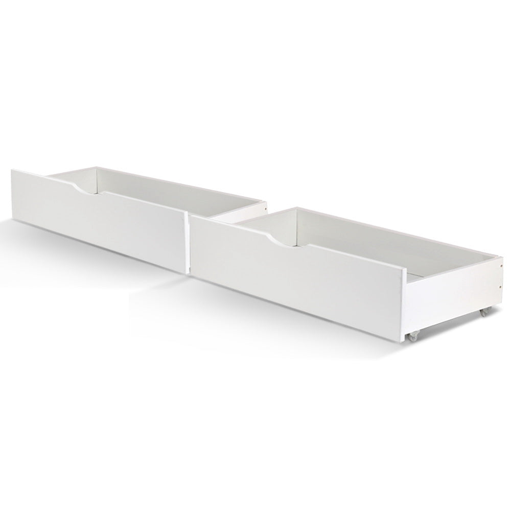 2x Storage Drawers Trundle for Single Wooden Bed Frame Base Timber White