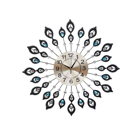 Large Modern 3D Crystal Wall Clock Luxury Golden Glass Round Dial