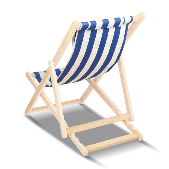 Fodable Beach Sling Chair - Blue & White Stripes