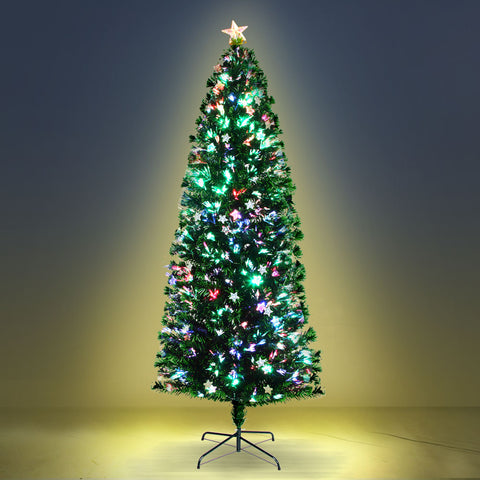 2.4M 8FT LED Christmas Tree Xmas Optic Fiber Multi Colour Lights