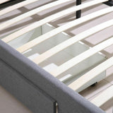 Levede Bed Frame King Fabric With Drawers Storage Beige