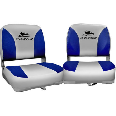 Set of 2 Folding Swivel Boat Seats - Grey & Blue