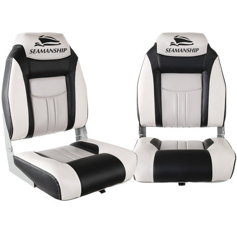 Seamanship Set of 2 Folding Swivel Boat Seats - Grey & Black