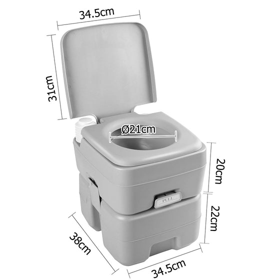 20L Portable Outdoor Camping Toilet with Carry Bag- Grey