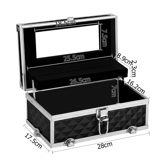 Portable Cosmetic Beauty Makeup Case Diamond Black