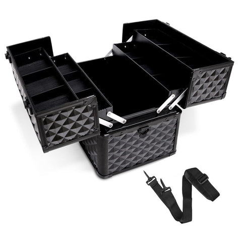 Portable Beauty Makeup Case Diamond Black