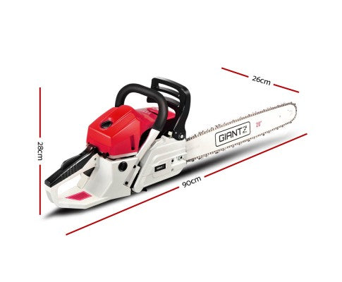62CC Commercial Petrol Chainsaw - Red & White