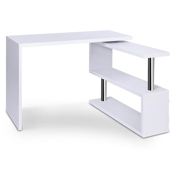 Rotary Corner Desk with Bookshelf - White