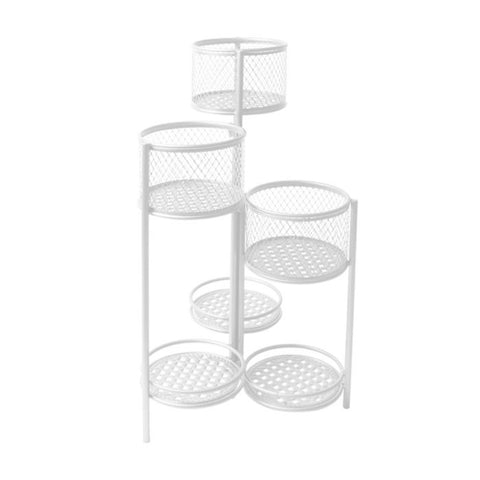 6 Tier Plant Stand Swivel Outdoor Indoor Metal Stands Flower Shelf Rack Garden White
