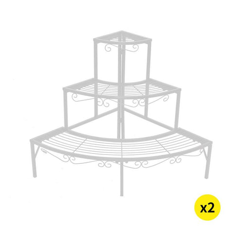 2x Levede Plant Stand Outdoor Indoor Garden Metal 3 Tier Planter Corner Shelf