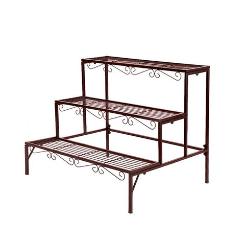 Levede Plant Stand 3 Tier Rectangle Metal Flower Pot Planter Corner Shelf Bronze
