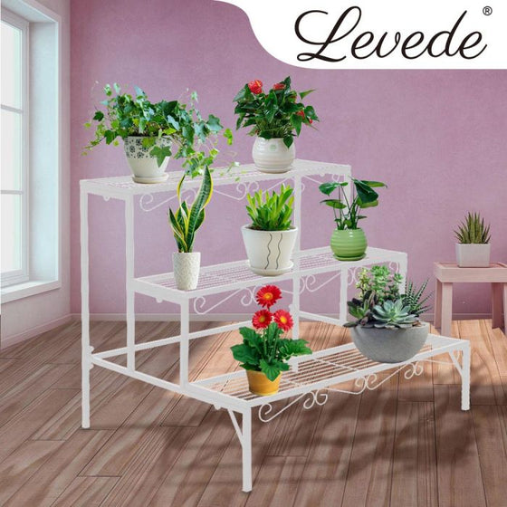 Levede Plant Stands Outdoor Indoor Metal White Flower Pot 3 Garden Corner Shelf