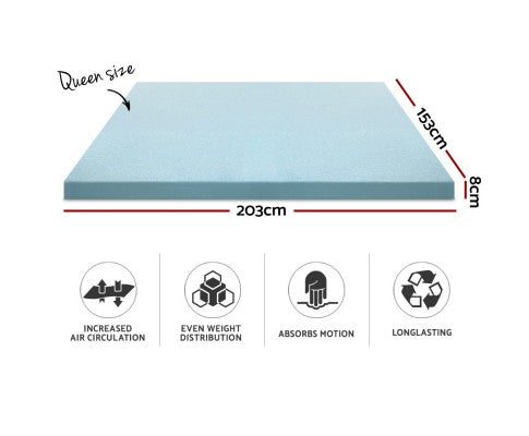 Cool Gel Memory Foam Mattress Topper w/Bamboo Cover 8cm - Queen