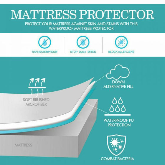 Fitted Waterproof Bed Mattress Protectors Covers Single