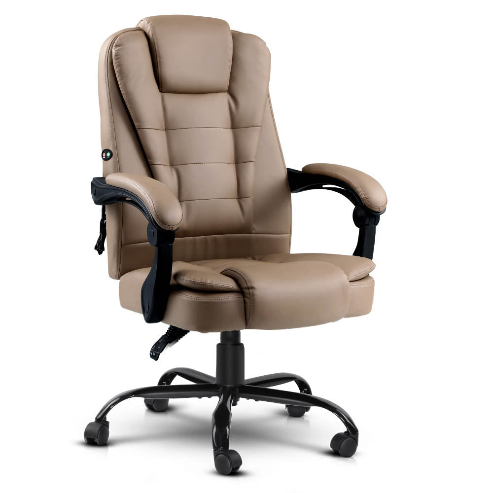 Massage Office Chair PU Leather Recliner Computer Gaming Chairs Espresso