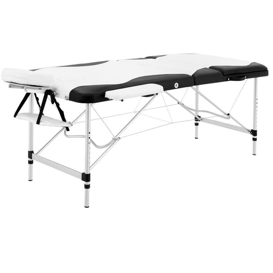 Portable Aluminium 3 Fold Massage Table Chair Bed Black White 75cm