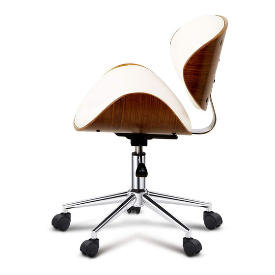 Wooden & Leather Office Chair - White