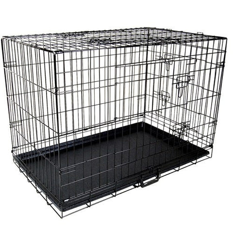 48inch Portable Foldable Metal Pet Cage - Black