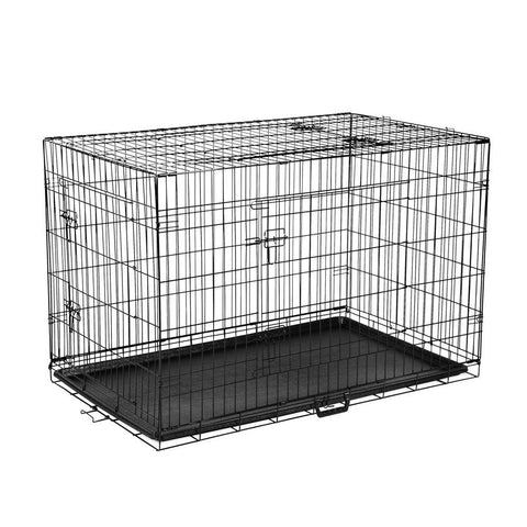 42inch Portable Foldable Metal Pet Cage - Black