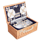 4 Person Picnic Basket Baskets Blue Deluxe Outdoor Corporate Blanket Park