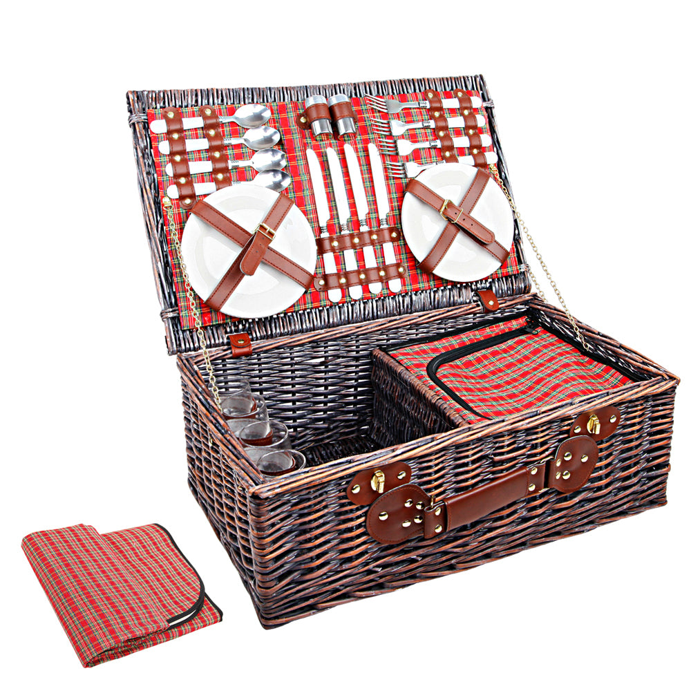 4 Person Picnic Basket Baskets Red Handle Outdoor Corporate Blanket Park