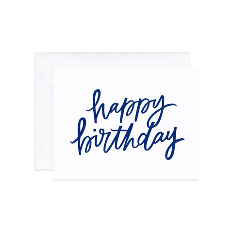 Happy Birthday Stamp Navy Card