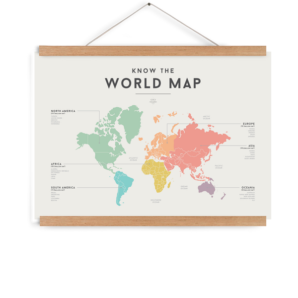 Educational Poster World Map Tiny Paper Co. Afterpay Toy Store Australia