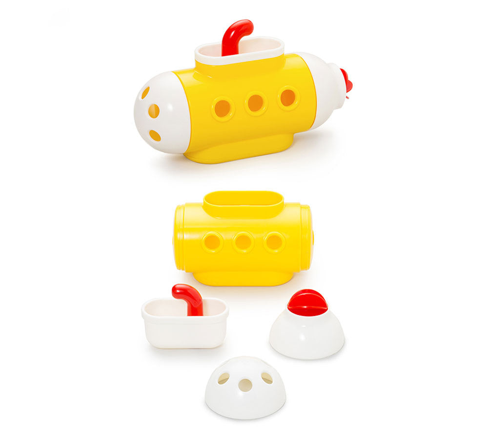 Yellow Submarine Bath Toys (Kid O) with detachable white ends and red periscope