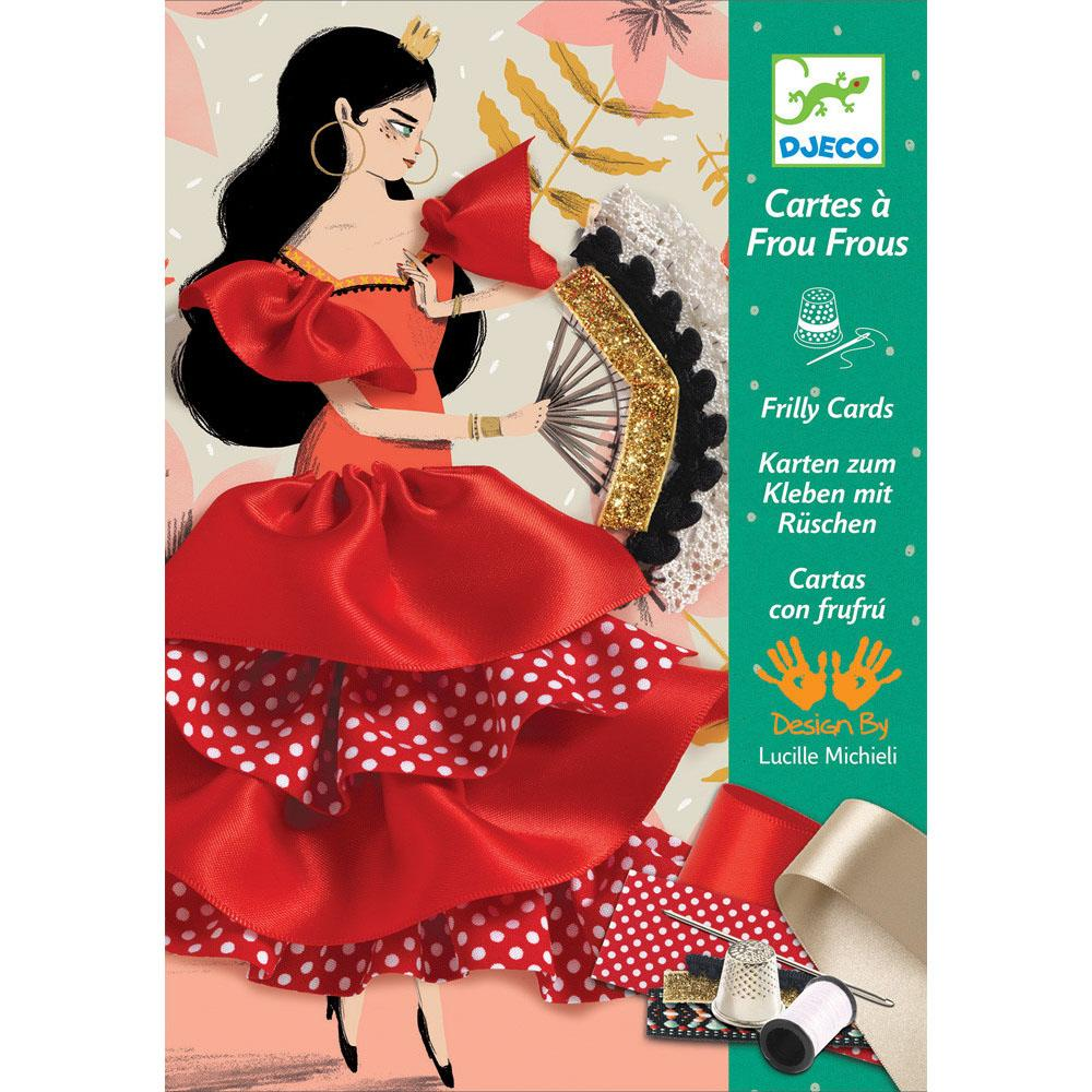 Flamenco Sewing Frilly Cards - Djeco - Tiny Paper Co. Afterpay Toy Store Australia