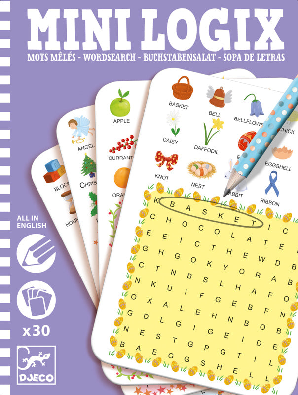Mini Logix Word Search Game - Djeco - Tiny Paper Co. Afterpay Toy Store Australia