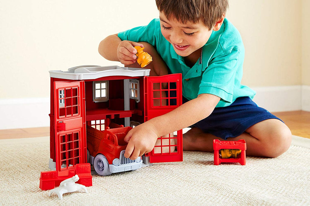Fire Station Play Set - Green Toys - Tiny Paper Co. Afterpay Toy Store Australia
