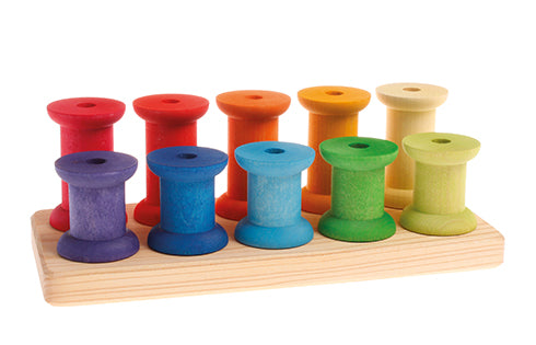 Grimm's Bobbins Rainbow - Large and Small - Grimm's Spiel and Holz - Tiny Paper Co. Afterpay Toy Store Australia