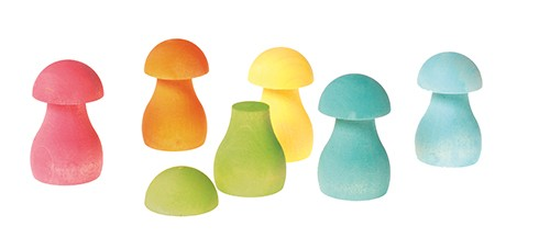 Grimm's Rainbow Mushrooms 12 pcs - Available in 2 Colours - Grimms - Tiny Paper Co. Afterpay Toy Store Australia