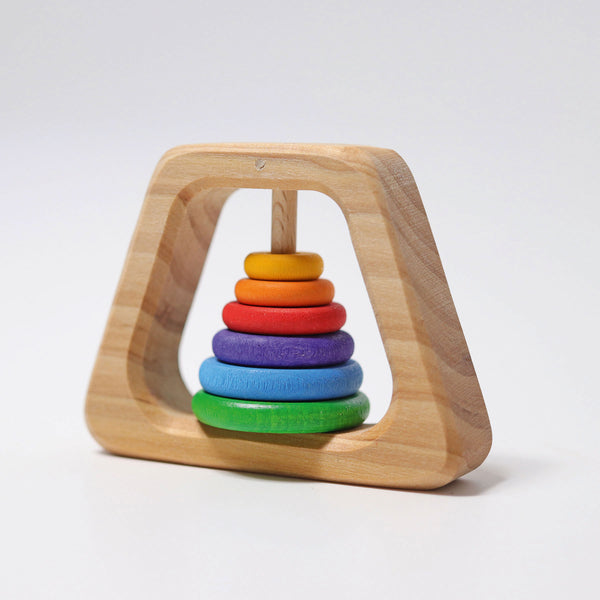Grimm's Rattle Pyramid Baby Teether - Grimm's Spiel and Holz - Tiny Paper Co. Afterpay Toy Store Australia