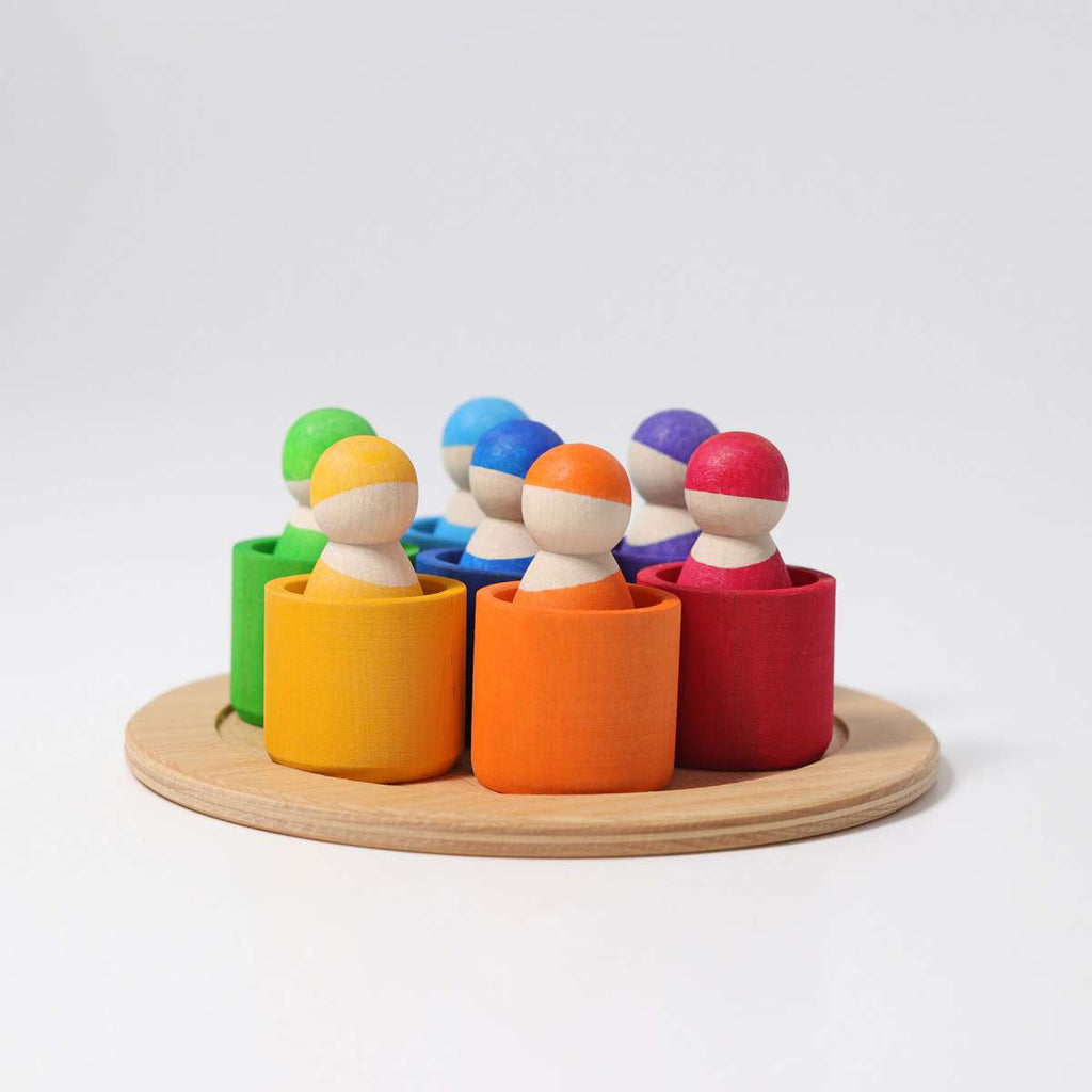 Grimms 7 Friends in 7 Bowls - Grimm's Spiel and Holz - Tiny Paper Co. Afterpay Toy Store Australia