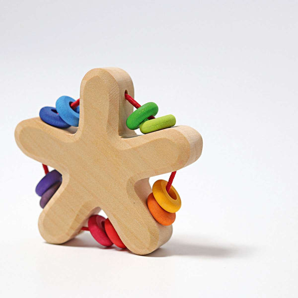 Grimms Rainbow Star Rattle with 10 Beads - Grimm's Spiel and Holz - Tiny Paper Co. Afterpay Toy Store Australia
