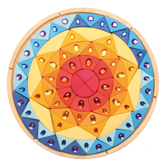Grimm's Sparkling Wooden Mandala Puzzle - Grimms - Tiny Paper Co. Afterpay Toy Store Australia