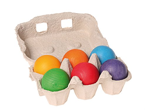 Grimm's 6 pcs Wooden Balls  - Available in 2 Colours - Grimms - Tiny Paper Co. Afterpay Toy Store Australia