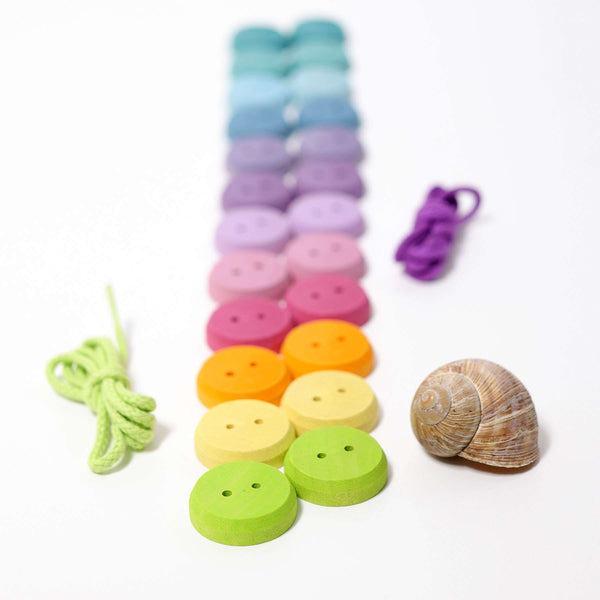 Grimms Wooden Buttons for Threading - Pastel - Grimms - Tiny Paper Co. Afterpay Toy Store Australia